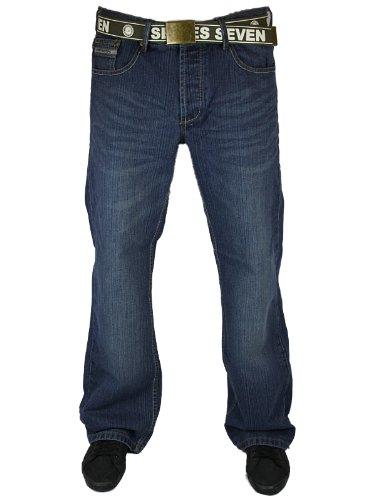 New Mens Darkwash Loyalty & Faith L603549A Designer Boot Cut Jeans W30 L32