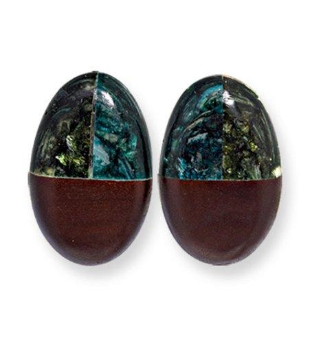 Tapak Wood Green Blue Broken Capiz Clip-on Earrings