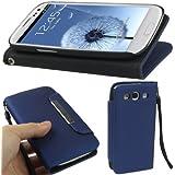 Housse portefeuille bleue avec support et lanière pour Samsung Galaxy S3 i9300