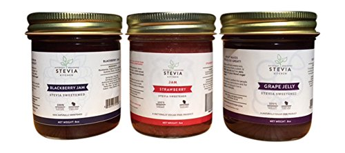 Stevia Kitchen Sugar Free Jelly, 8 oz Jar (Variety Pack - 3 Count) (Jelly Sugar compare prices)