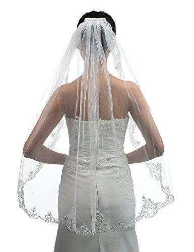 Itacazzo 1t 1Ties Sequin Lace Applique Edge Short Wedding Veil Lace Bride Veil 2016 (White)