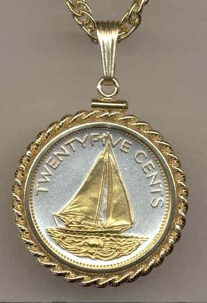 Bahamas 25 Cent ÒSail BoatÓ Two Tone Gold Filled Rope Bezel Coin on 18