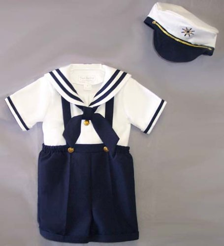 Deluxe Boys Sailor Shorts Suit with Suspenders & Hat Infants & Toddler's