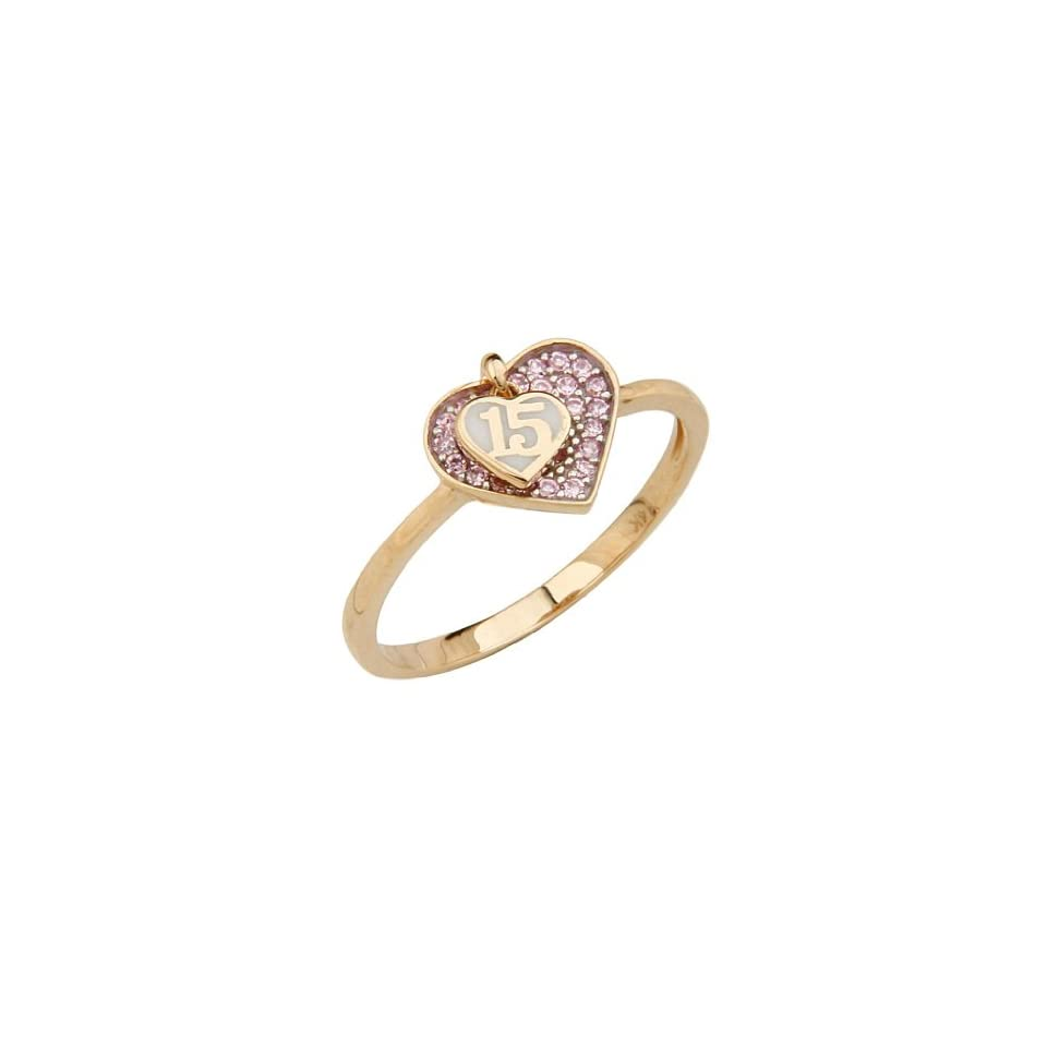 14K Yellow Gold High Polish Pave Set Pink Top Quality Shines CZ 15 Anos Quinceanera Heart Design Ladies Fashion Ring Band Engagement Rings Jewelry
