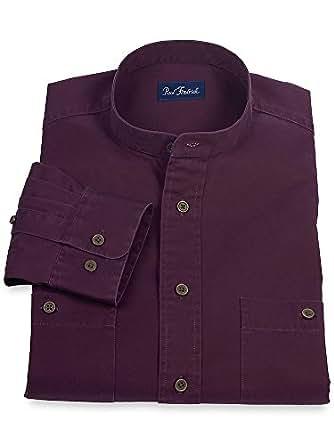 Paul Fredrick Men's Washed Cotton Twill Band Collar Sport Shirt Plum 3xl Tall