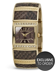M&S Collection Diamanté Faux Reptile Skin Print Bracelet Watch