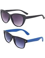 New Stylish UV Protected Combo Pack Of Sunglasses For Women / Girl ( BlackCateye-RoyalblueWayfarer ) ( CM-SUN-...