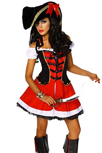 Abenteuerliches Kostüm `Piraten-Braut` für Karneval und Fasching mit Hut A12391, Größe:34-38;Farbe:rot