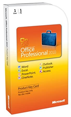 Microsoft Office 2010 Professional, 1 User [Product Key Card Only, Upgrade Version] (PC)