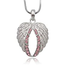 Lovely PINK Crystal Gaurdian Angel Wings Silver Tone Necklace – Gift for Women, Teens and Girls Valentine's Day