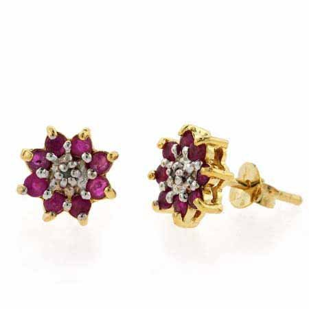 18K Gold over Sterling Silver Ruby & Diamond Accent Flower Stud Earrings