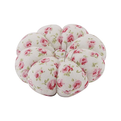 Neoviva Fabric Coated Pumpkin Shaped Wrist Wearable Pin Cushion for Needlework, Floral England Roses Cream