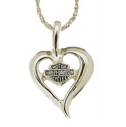 Harley-Davidson® Stamper® Women's White Gold Necklace Heart with Bar & Shield Pendant. WN7194