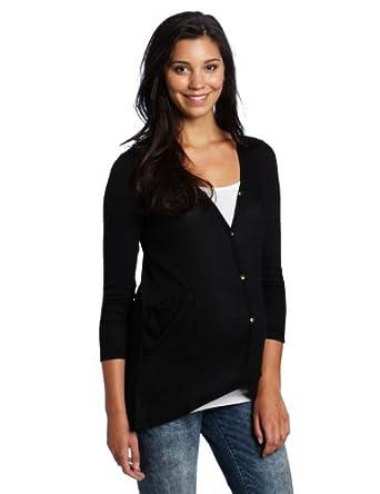 Three Seasons Maternity Women's Long Sleeve Drop Back Rib Cardigan Sweater, Black, Small