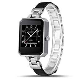 LEMFO LEM2 Bluetooth Smart Watch Fashion Female Women Smartwatch Heart Rate Monitor MTK2502C APK for Apple IOS Android Phone (Silver)