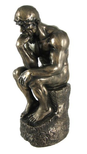 Rodin the Thinker Statue Fine Art Sculpture Male Nude Figure Real Bronze Powder Cast 9-3/4 Inch