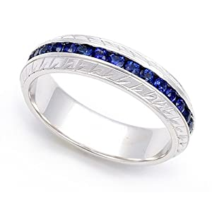 Platinum Channel set Blue Sapphire Eternity Band Ring, 4
