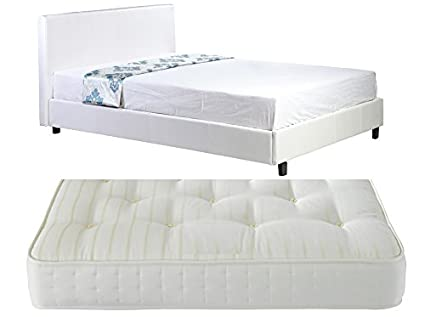 4ft Small Double Low Frame White Faux Leather Bed + Deluxe Ortho Spring Mattress - Also available in Black or Brown