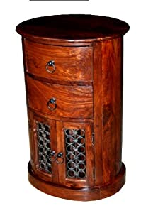 Homescapes   Takhat   Drum Chest with Jali Doors   100% solid Indian Sheesham Hardwood Furniture ( no veneer ) Hand Made using traditional techniques       review and more information