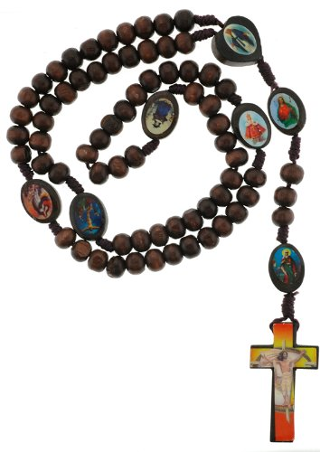 Wooden Rosary Dark Colored Wood with Religious Figure Icons