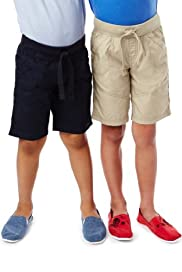 2 Pack Pure Cotton Ribbed Waistband Drawstring Shorts [T88-2200P-S]