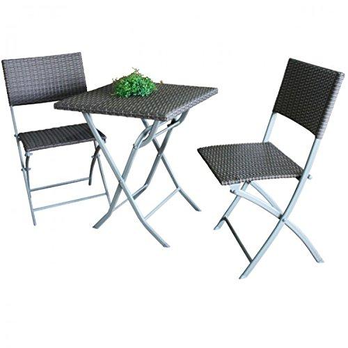Balkonset PATIO Tisch und 2 Stühle Stahl Rattan Sitzgruppe coffee Klappbar Gartenmöbel Set