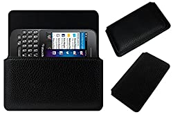 Acm Horizontal Leather Case For Blackberry Q5 Mobile Cover Carry Pouch Holder Black