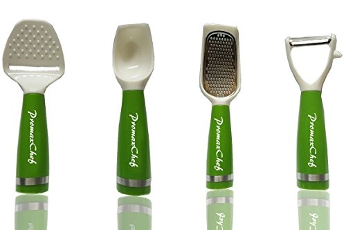Promax 4 Pack (4pcs) Cheese Grater + Peeler + Scooper + Slicer - Live To Cook - Self-Standing Kitchenware (SLICER/PEELER/SCOOPER/GRATER) (Cooks Essentials Ice Cream Maker compare prices)