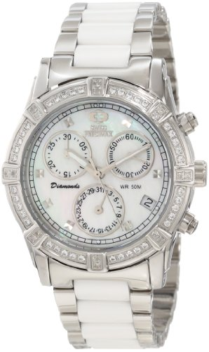 Swiss Precimax Women's Desire Elite Ceramic Diamond SP12075 White Ceramic Swiss Quartz Watch with Mother-Of-Pearl Dial