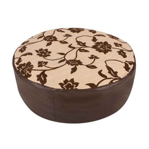 Luxury Round Bean Bag Footstool - Chenille and Faux Leather Bean Bag Foot Rest - BROWN Floor Cushion