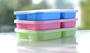 6 Lunch Boxes-multi Colors Divided Food Storage Containers Plates+easy Open Lids, BPA Free by Hai Plastic