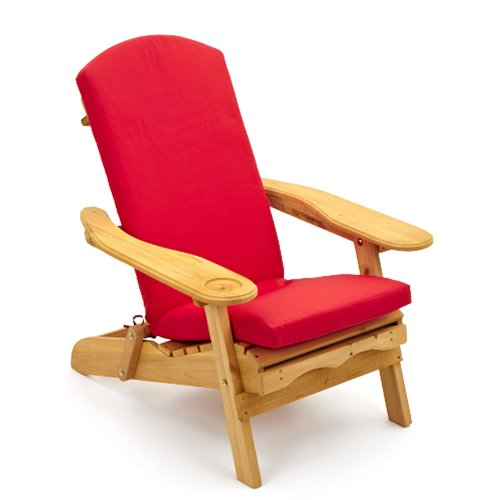 Trueshopping Garden Furniture / Patio Newby Wooden Adirondack Arm Chair / Lounger with pull out Leg Rest Durable & Easy To Store Away with Luxury Red One Piece Seat, Back and Head Cushion