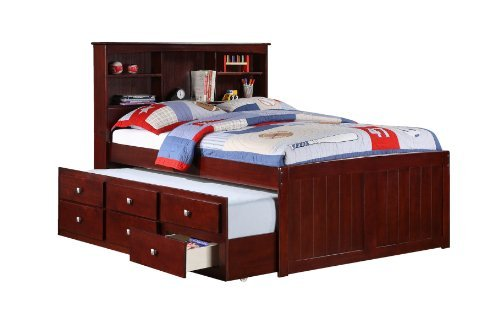 Full Mission Captains Cappucino Bookcase Trundle Bed (Full Size Trundle Bed compare prices)