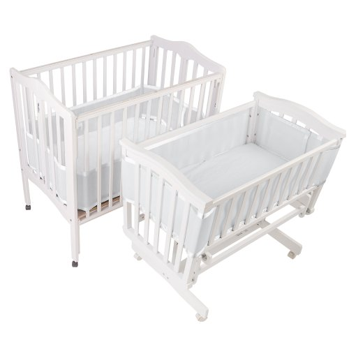Find Bargain BreathableBaby Breathable Bumper for Portable and Cradle Cribs, White