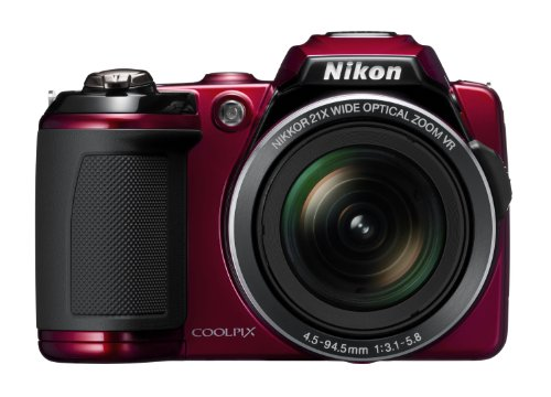 Nikon Coolpix L120 Digital Camera - Red (14MP, 21x Optical Zoom) 3-inch LCD