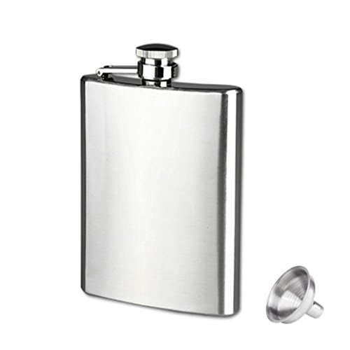 Iuhan® Fashion New Stainless Steel Pocket Hip Flask Alcohol Whiskey Liquor Screw Cap + Funnel (9oz(250ml))