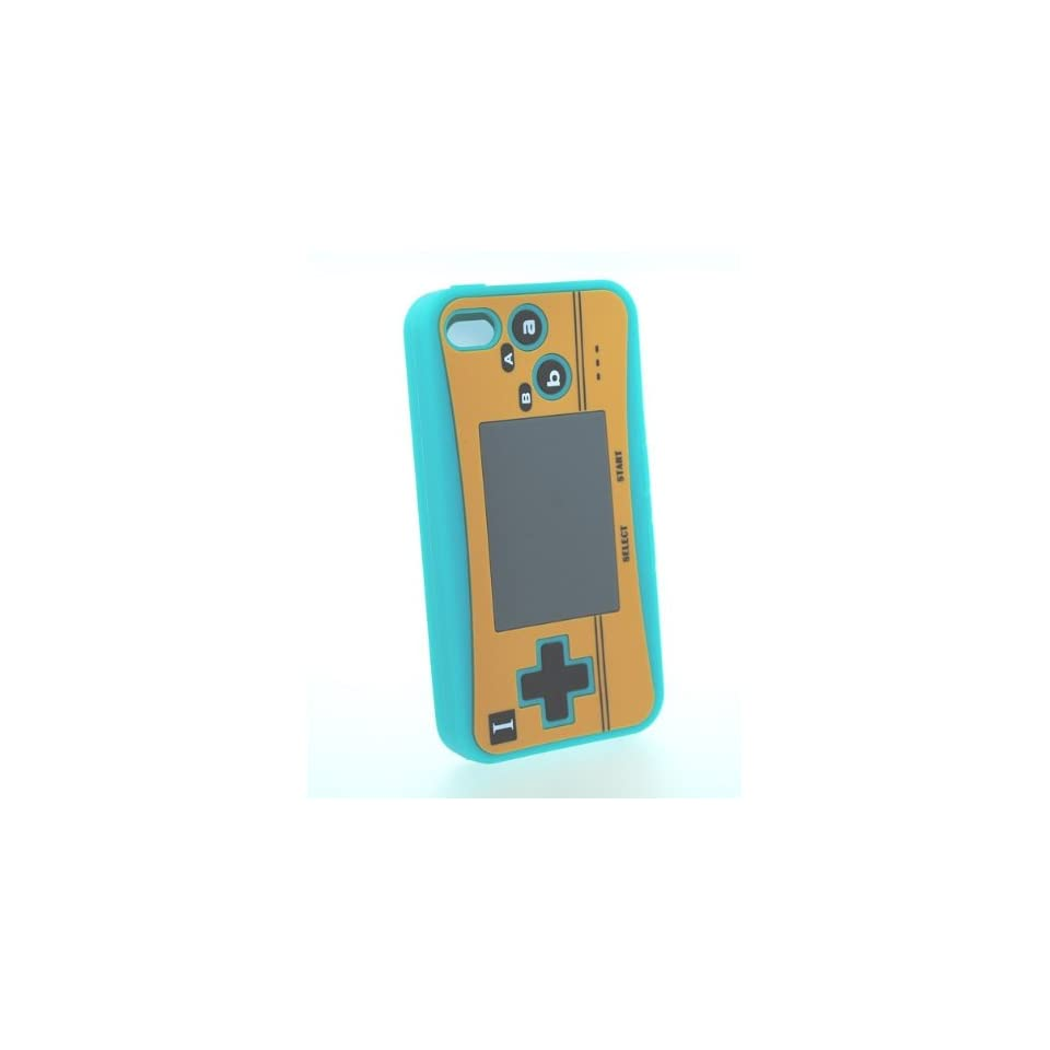 Turquoise Nintendo Control Design Soft Silicone Skin Gel Cover Case for Verizon Att Sprint Iphone 4 4S + Microfiber Pouch Bag + Lcd Screen Guard