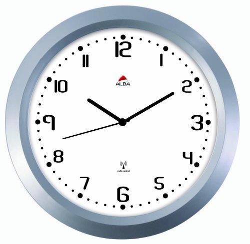 alba horgladrc horloge murale g ante radio pilot e diam tre 38 cm gris m tal fond noir. Black Bedroom Furniture Sets. Home Design Ideas