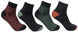 Mens Cotton Pack of 4 Neon Bold Ankle Socks by Bonjour_BRO1601-PO4
