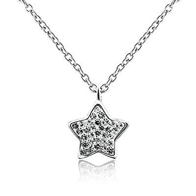 Dormith® 925 sterling silver czech diamond white star pendant necklace for women