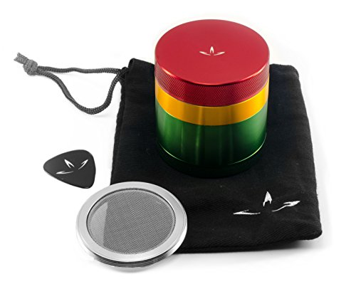 4 Piece Aluminum Herb Grinder with Removable Screen (2.2 Inch, Rasta) (Bowl Grinder compare prices)