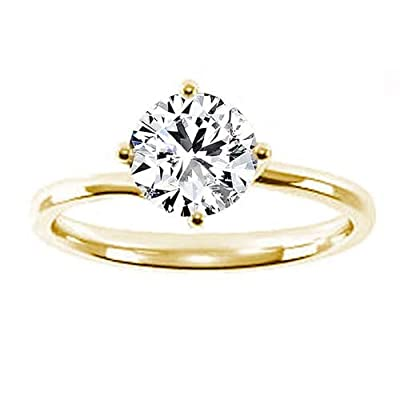 1.02 Carat F/SI1 Round Brilliant Certified Diamond Solitaire Engagement Ring in 18k Yellow Gold