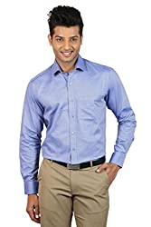 Le Tailor Men's Slim Fit Shirt ( SLFS117,Blue,M )