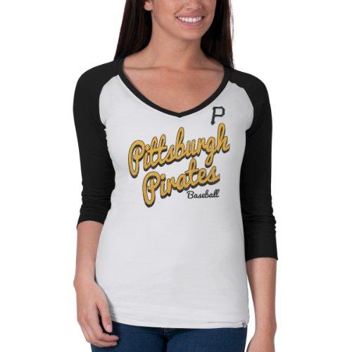 Mlb Pittsburgh Pirates Women'S Batter Up Baseball Tee, Large, White Wash front-951315