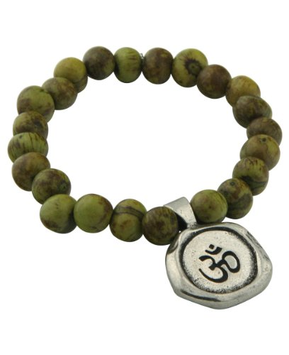 Green Acai Berry Om Stretchy Bracelet