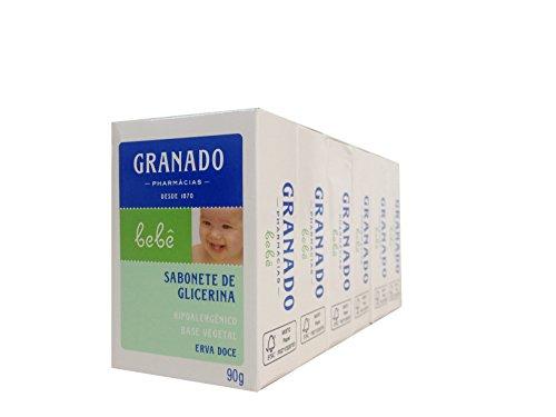 Linha Bebe Granado - Sabonete em Barra de Glicerina Erva-Doce (6 x 90 Gr) - (Granado Baby Collection - Fennel Glycerin Bar Soap Net (6 x 3.2 Oz))