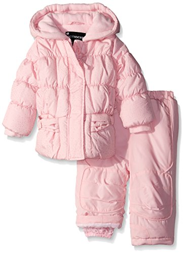 Rothschild Baby-Girls Sparkle Snowsuit, Petal Pink, 24 Months