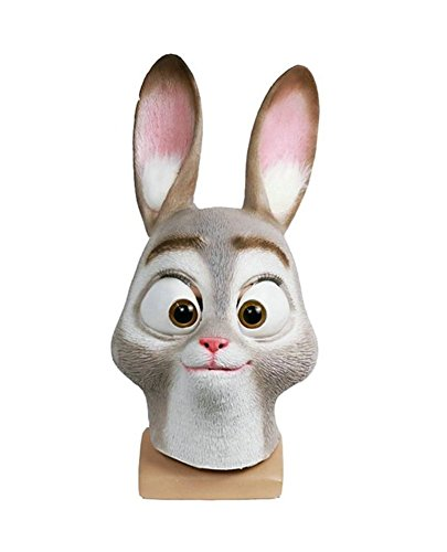 Adult Deluxe Halloween Funny Rabbit Judy Latex Prop 1:1 Replica Mask Animal (One Average Size) (Latex Rabbit Mask)