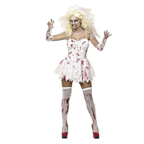 [Juway Bloody Mary Devil Role Play Suit For Halloween(White,Chest<35