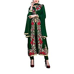 Destiny Enterprise Designer Gorgette Unstitched Green Color Salwar Suit Dress Material for Women